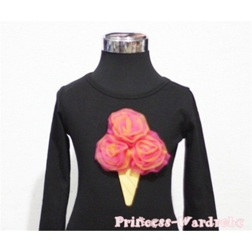 Hot Pink Orange Mixed Ice Cream Black Long Sleeves Top T199