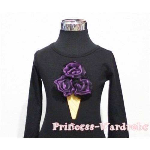 Black Dark Purple Mixed Ice Cream Black Long Sleeves Top T203