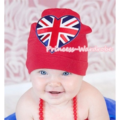 Red Cotton Cap with British Heart Print TH250