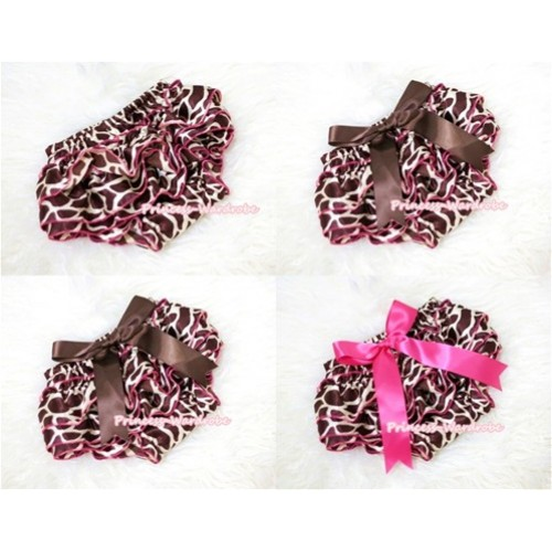 Hot Pink Giraffe Print Layer Panties Bloomers with Cute Big Bow BC118