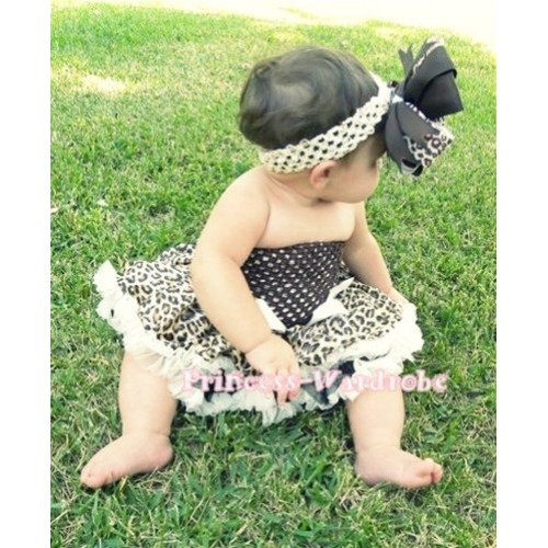 Brown Crochet Tube Top with Cream White Leopard Baby Pettiskirt CT50