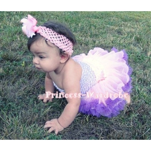 Lavender Crochet Tube Top with Pink Purple Print Baby Pettiskirt CT52