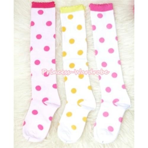 Lot 3 Pairs Polka Dots Cotton Stocking Sock SK83