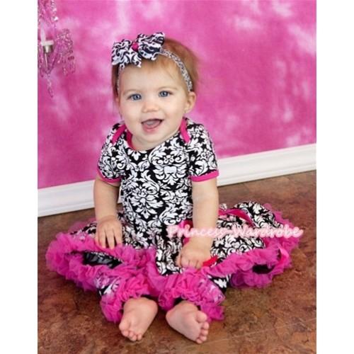 Newborn Baby Damask Print Jumpsuit & Pettiskirt with Hot Pink Ruffles Leg Warmer Set TH231