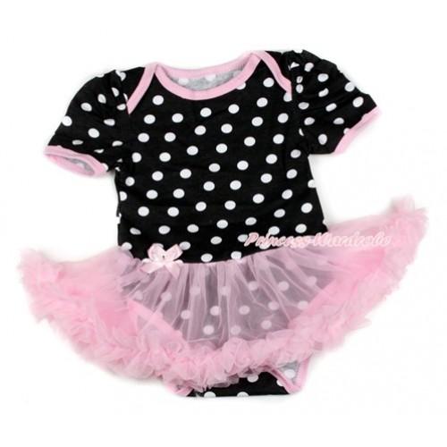 Black White Dots Baby Bodysuit Jumpsuit Light Pink Pettiskirt JS1651