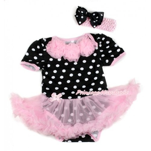 Black White Dots Baby Bodysuit Jumpsuit Light Pink Pettiskirt With Light Pink Rosettes With Light Pink Headband Black White Dots Ribbon Bow JS1746
