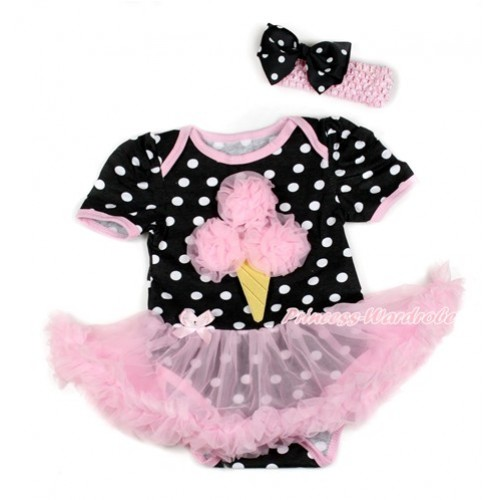 Black White Dots Baby Bodysuit Jumpsuit Light Pink Pettiskirt With Light Pink Rosettes Ice Cream Print With Light Pink Headband Black White Dots Ribbon Bow JS1812