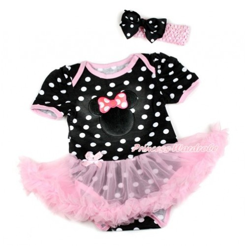Black White Dots Baby Bodysuit Jumpsuit Light Pink Pettiskirt With Hot Pink Minnie Print With Light Pink Headband Black White Dots Ribbon Bow JS1818