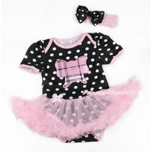 Black White Dots Baby Bodysuit Jumpsuit Light Pink Pettiskirt With Light Pink Checked Butterfly Print With Light Pink Headband Black White Dots Ribbon Bow JS1819