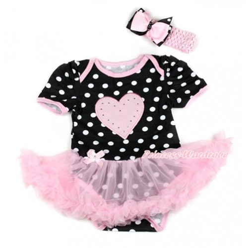 Black White Dots Baby Bodysuit Jumpsuit Light Pink Pettiskirt With Light Pink Heart Print With Light Pink Headband Pink & Black White Dots Ribbon Bow JS1826