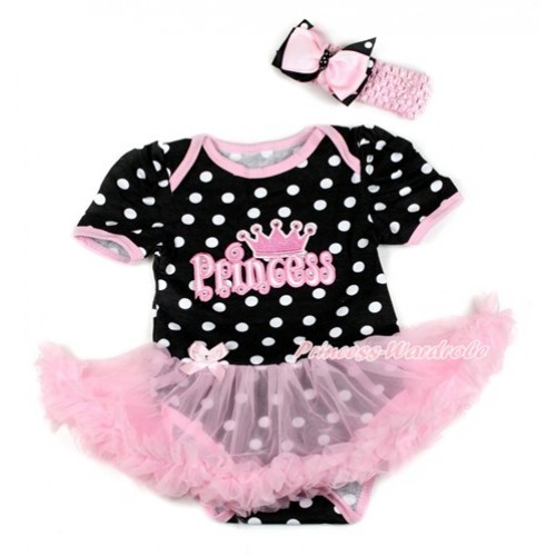 Black White Dots Baby Bodysuit Jumpsuit Light Pink Pettiskirt With Princess Print With Light Pink Headband Pink & Black White Dots Ribbon Bow JS1828