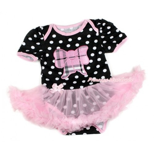 Black White Dots Baby Bodysuit Jumpsuit Light Pink Pettiskirt with Light Pink Checked Butterfly Print JS1726
