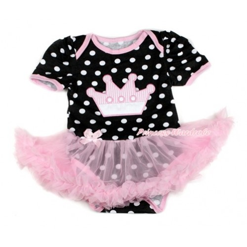 Black White Dots Baby Bodysuit Jumpsuit Light Pink Pettiskirt with Crown Print JS1732