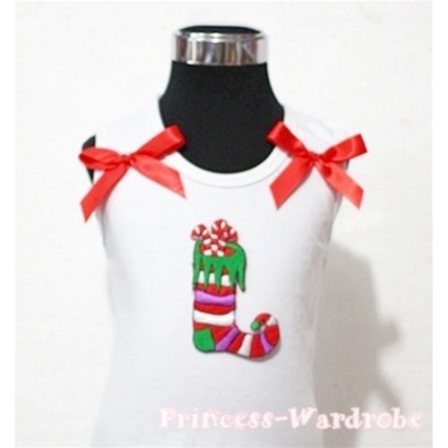 Christmas Sock White Tank Top with Red Ribbon TW74