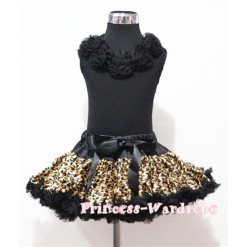 Black Tank Tops with Black Rosettes & Black Leopard Print Pettiskirt M183