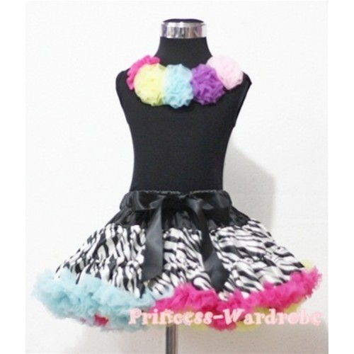 Black Tank Tops with Rainbow Rosettes & Rainbow Zebra Pettiskirt M184