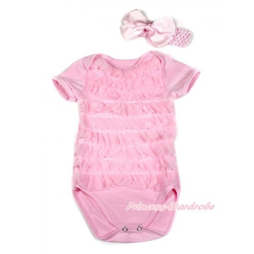 Light Pink Ruffles Baby Jumpsuit With Accessory 2PC Set TH410