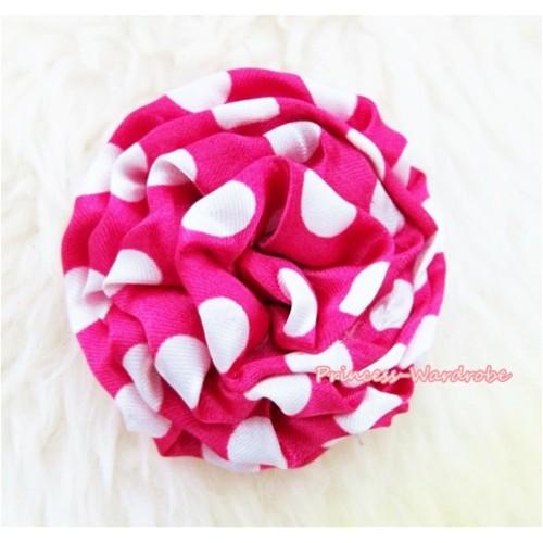 Dark Hot Pink White Polka Dot Print Rosettes Hair Pin H323