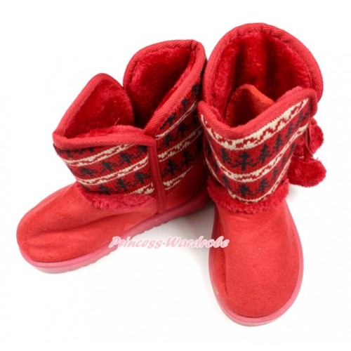Xmas Hot Red Black White Snowflake Print Red Ball Mid Calf Warm Children Boot SB35