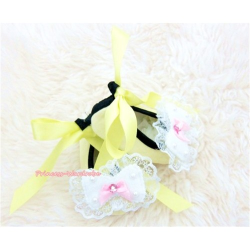 Yellow Ribbon Crib Shoes with lace bow S429