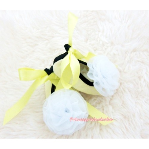 Yellow Ribbon Crib Shoes with White Rosettes S430