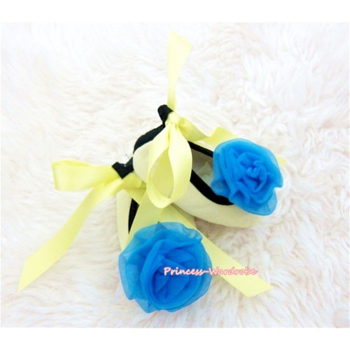Yellow Ribbon Crib Shoes with Royal Blue Rosettes S431