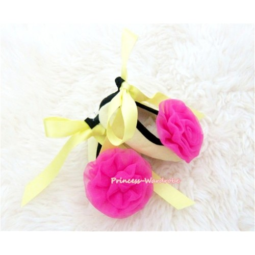 Yellow Ribbon Crib Shoes with Hot Pink Rosettes S432