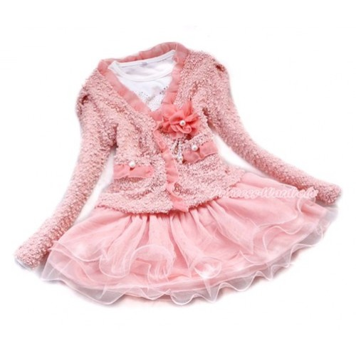 Light Pink Lace Flower Pearl Jacket Coat Matching White Long Sleeves Pink One Piece Party Dress Set SH39