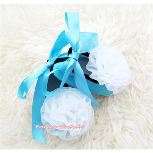 Light Blue Ribbon Crib Shoes with White Rosettes S436