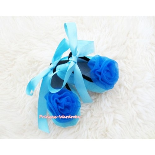 Light Blue Ribbon Crib Shoes with Royal Blue Rosettes S438