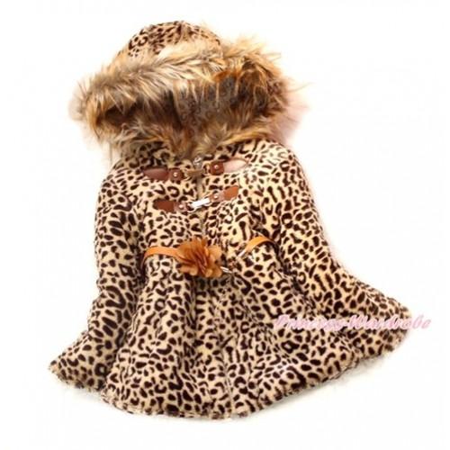 Brown Leopard Faux Fur Winter Warm Shawl Coat Flower Leather Belt Jacket Snowsuit SH37
