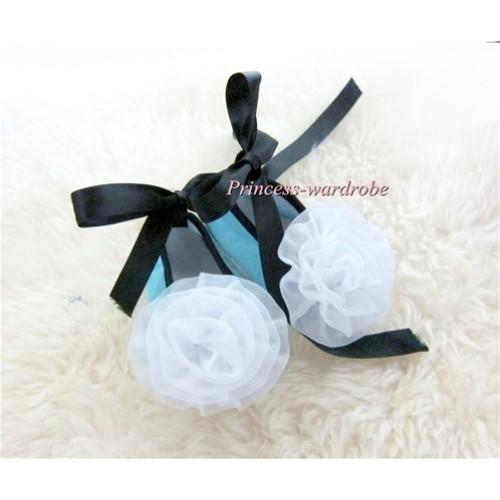 Black Ribbon Light Blue Crib Shoes with White Rosettes S441