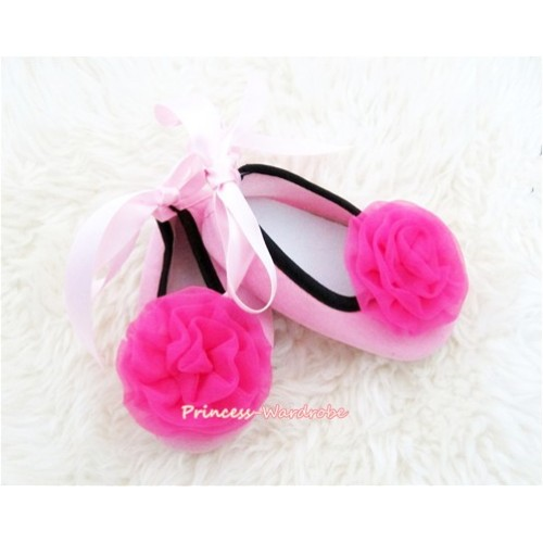 Light Pink Ribbon Crib Shoes with Hot Pink Rosettes S446