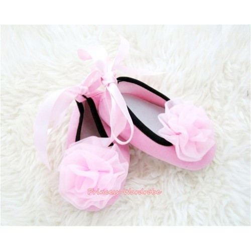 Light Pink Ribbon Crib Shoes with Light Pink Rosettes S448