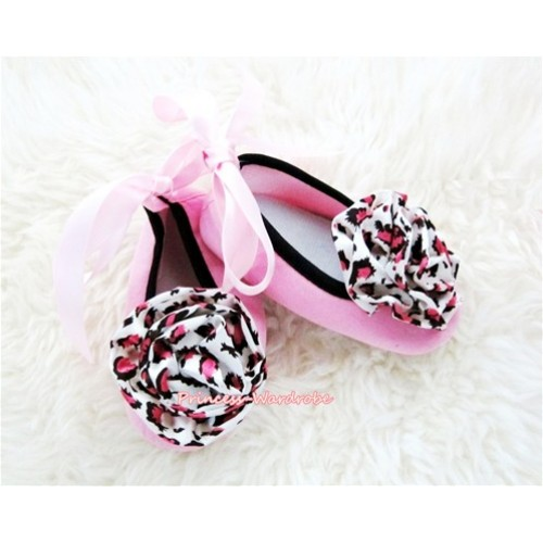 Light Pink Ribbon Crib Shoes with Light Pink Leopard Print Rosettes S450