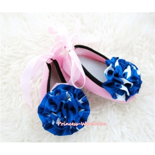 Light Pink Ribbon Crib Shoes with Royal Blue Flag Print Rosettes S452