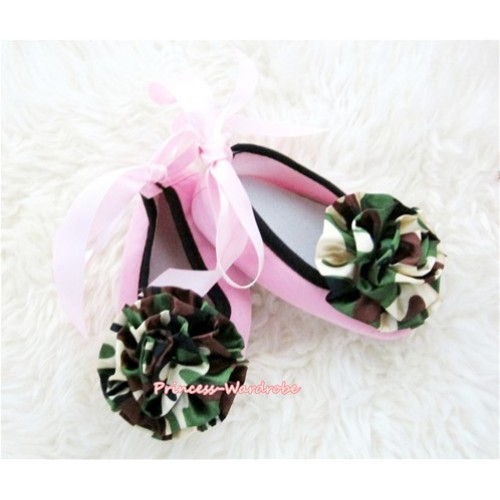 Light Pink Ribbon Crib Shoes with Camouflage Print Rosettes S451