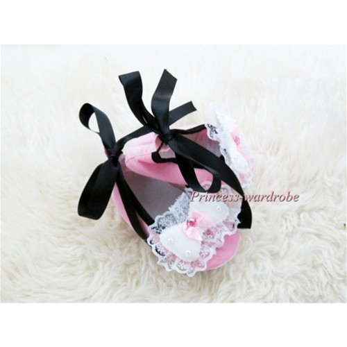 Light Pink Crib Shoes with Black Ribbon with Lace Bow S453
