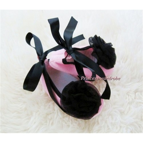 Light Pink Crib Shoes with Black Ribbon with Black Rosettes S454