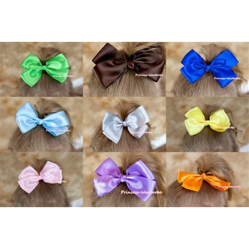 Optional Solid Color Silk Bow Hair Clip H233