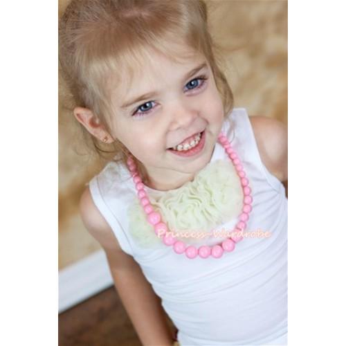 Light Pink Plastic Bead Necklace NK004