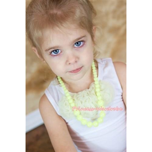 Yellow Plastic Bead Necklace NK005