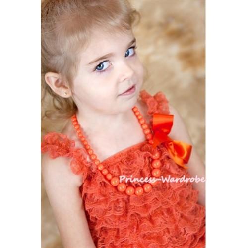 Orange Plastic Bead Necklace NK006