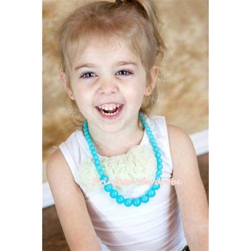 Aqua Blue Plastic Bead Necklace NK008
