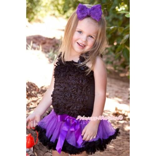 Halloween Black Baby Ruffles Tank Top with Dark Purple Black Baby Pettiskirt NR65