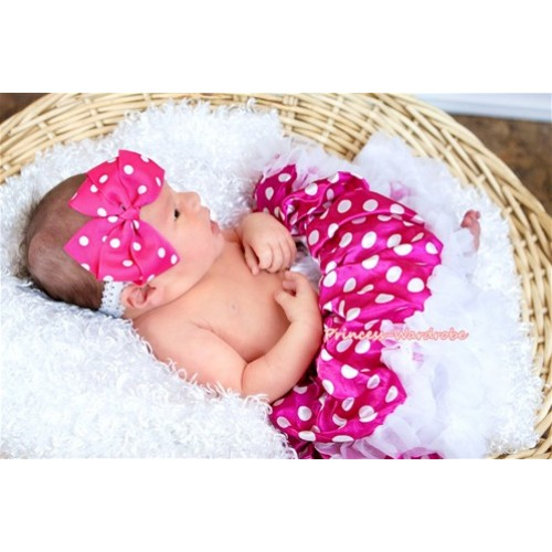Dark Hot Pink with White Polka Dots New Born Pettiskirt N095