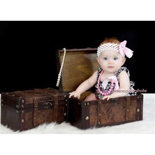 Damask Light Pink Layer Chiffon Romper with Light Pink Bow & Straps and Light Pink Bow White Headband Set RH73