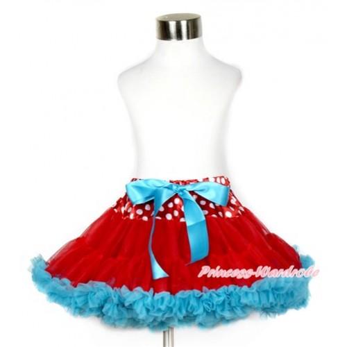 Minnie Polka Dots Waist Red Peacock Blue Full Pettiskirt P173