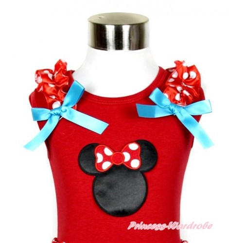 Red Tank Top With Minnie Print with Minnie Dots Ruffles & Peacock Blue Bow T527