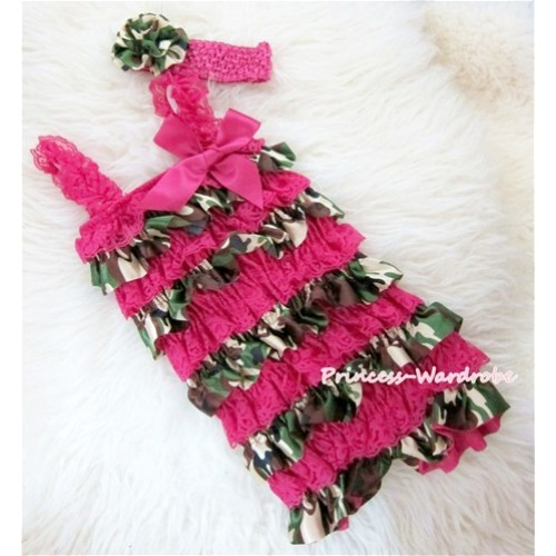 Camouflage Hot Pink Layer Chiffon Romper with Hot Pink Bow & Straps and Hot Pink Headband Set RH74